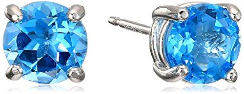 Rhodium Plated Sterling Silver Genuine Swiss Blue Topaz 6mm Round December Birthstone Stud Earrings - Swiss Blue Topaz Earrings