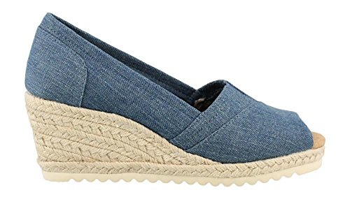 Skechers Women's, Monarchs Summer Days Mid Heel Wedge Sandals Denim 10 M Footwear Womens Jeans