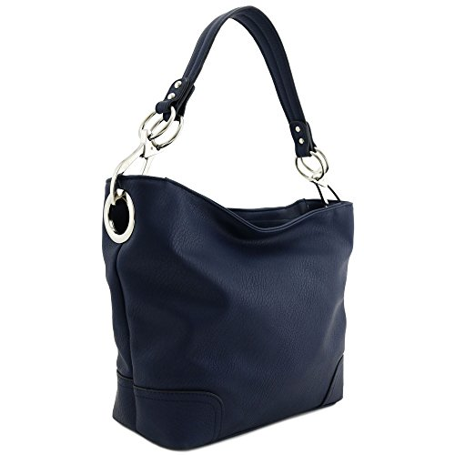 - Hobo Shoulder Bag with Big Snap Hook Hardware (Navy)
