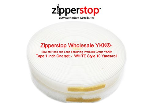 YKK® -Style- Sew on Hook and Loop Fastening Products Group YKK® Tape 1 Inch  WHITE Style 10 Yards/roll by Zipperstop Wholesale YKK®