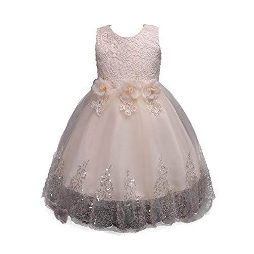 Toddler Little/Big Girls Dresses Sleeveless Floral Lace Birthday Party Wedding Formal Dress (3-4 Years, Gold) ()