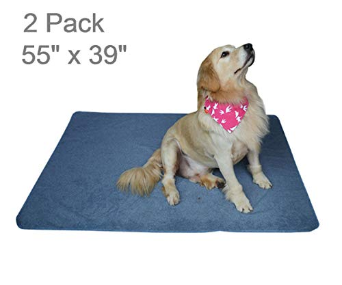 2PCS Washable Puppy Pads,Premium Dog Pee Pads with Fast Absorbent Reusable,Waterproof,Soft for Training,Travel,Housebreaking,Incontinence,for Playpen,Crates,Whelping Box,Large 55 x 39