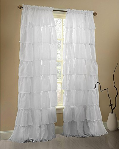 Jody Clarke 1 PC White Window Treatment Curtain Crushed Sheer Panel Drape Gypsy Ruffle Style Semi-Sheer Fully Stitched with Rod Pocket for Any Room in 55