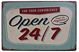 Open 24/7 Funny Tin Sign Bar Pub Garage Diner Cafe Home Wall Decor Home Decor Art Poster Retro Vintage