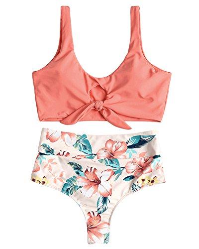 ZAFUL Sexy Padded Two Piece Bikini Set Floral Halter Knotted High Waisted Swimwear(Pink,M)