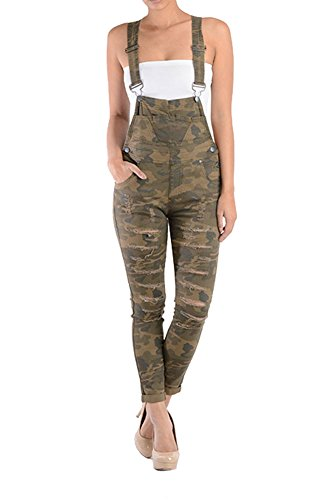 Spandex Overalls (Women's Solid Ripped Skinny Overalls RJHO379 - OLIVE CAMO - Large-H3B)