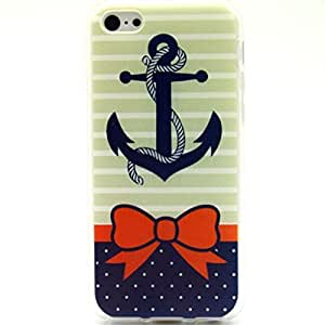 Iphone 5c Case, Anchor Bow Polka Dot Clear Bumper Case Silicone Skin Cover for iphone 5c