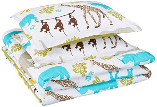 - AmazonBasics Easy-Wash Microfiber Kid's Comforter and Pillow Sham Set - Full or Queen, Multi-Color Zoo Animals