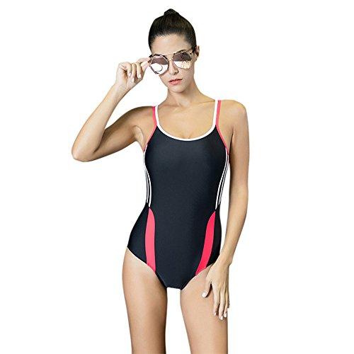 Mufly Bikini Mujer Sin Espalda Traje de Baño de una Pieza Bañador Elástico Deportivo de Natación Profesional de Mujer Beachwear 2017 Rojo