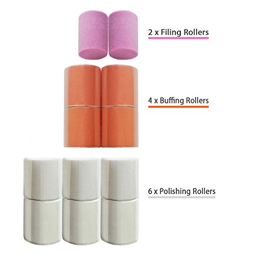Replacement Rollers for Care me Electric Nail Care System - 2x Coarse Filing 4x Buffing & 6x Shining Heads - A Pack of 12 Refills at Great Value (Care Me Replacement Rollers)