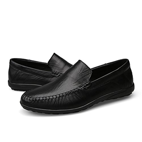 Insun Mens Leather Slip On Loafers Boat Shoes Driving Black PeBy7bg