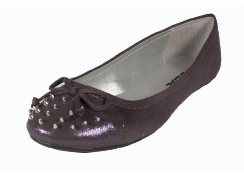 nd Cute Bow Tie and Spike Studded Slip On Ballet Flats with Toe Glitter Cap Contrast, charcoal faux suede, 7 M (Studded Toe Cap)