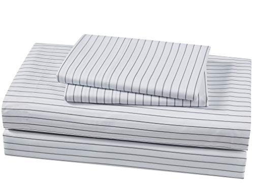 Ideal Linens Bed Sheet Set - 1800 Double Brushed Microfiber Bedding - 4 Piece (Queen, Pin Stripe Gray) - EXPERIENCE Comfort and Tranquility. Most comfortable and luxurious bed sheets you can find. Perfect for bedroom, guest room, kids room, RV, vacation home and dorm. Great gift idea for men, women, Moms, Dads, Valentine's - Mother's - Father's Day and Christmas. QUALITY DOUBLE BRUSHED MICROFIBER - Stronger and Longer Lasting than Cotton. Super Silky Soft with great color selection to match any bedroom style EASY CARE - Machine wash in cold. Dries quick on tumble dry low. - sheet-sets, bedroom-sheets-comforters, bedroom - 41gV0lJ8PtL -