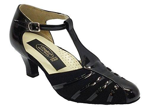 Vitiello Dance Shoes Standard nero vernice e camoscio tacco 5 - Zapatillas de danza de Piel para mujer Negro negro Camoscio Nero e Lucido