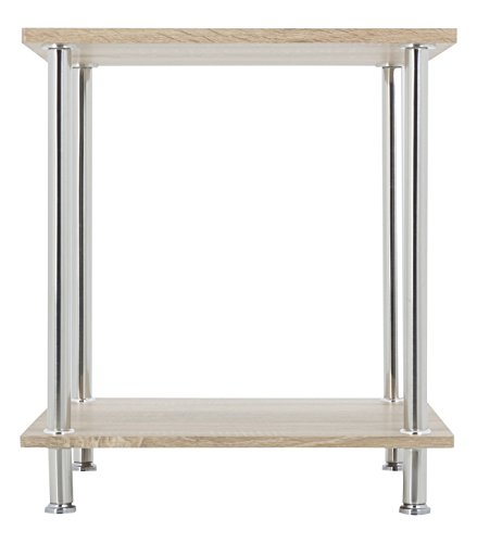 AVF T52OW-A Whitewashed Oak & Chrome Two Tier Square Side Table/Lamp Table/End Table (Tier 2 Lamp)