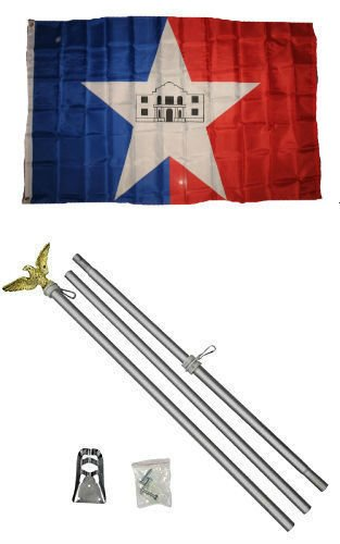 (ALBATROS 3 ft x 5 ft City of San Antonio Texas Flag Aluminum with Pole Kit Set for Home and Parades, Official Party, All Weather Indoors)