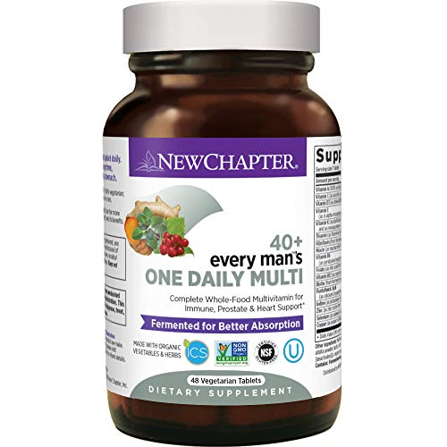 New Chapter Men's Multivitamin, Every Man's One Daily 40+, Fermented with Probiotics + Saw Palmetto + B Vitamins + Vitamin D3 + Organic Non-GMO Ingredients, 48 Count