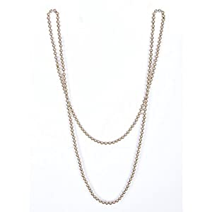 Vijiv 66 inch 8mm Bead Glass Pearl 1920s Flapper Necklace Great Gatsby Party Accessories Champagne Gold Length - 66 inch Size - 8mm