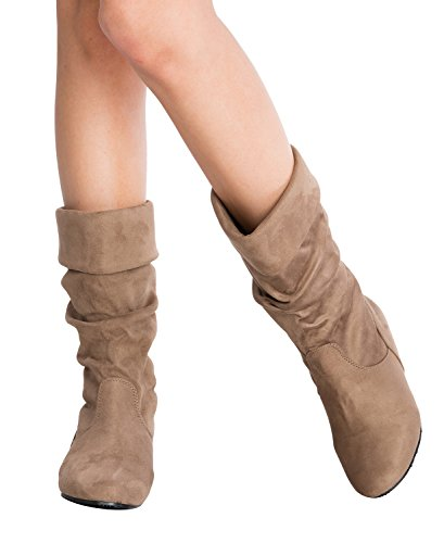 Fold Over Flat Boot - OLIVIA K Womens Low Heel Mid-Calf Slouchy Fold Over Suede Slip On Casual Boots