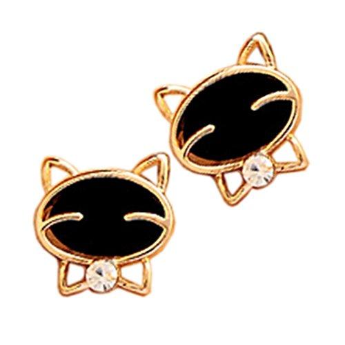 Napoo 1Pair Black Smile Cute Cat Fine Diamond Exquisite Stud Earrings (Cat Ring Gemstone)