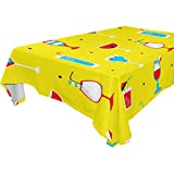 U LIFE Vintage Italian Food Drink Washable Tablecloths Table Cloth Cover Protector for Happy Halloween Thankgiving Party Living Room Picnic Rectangle Square Round Tables Multiple Sizes Yellow