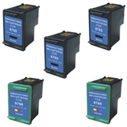 Amsahr 94(C8765WN) Remanufactured Replacement HP Ink Cartridges for Select Printers/Faxes with 3 Black and 2 Color Ink Cartridges