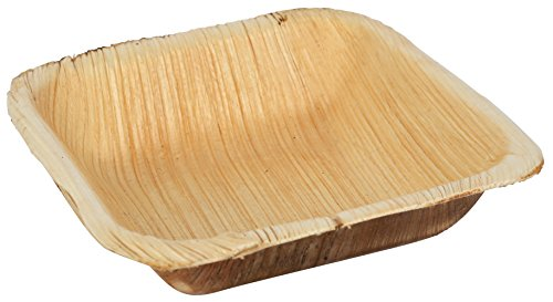 Brheez Palm Leaf Disposable Bamboo Style Small & Shallow Square Bowls 4