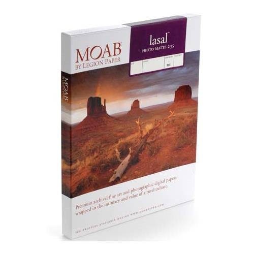 - Moab Lasal Photo Matte, Double Sided, Bright White Archival Inkjet Paper, 235gsm, 11x17