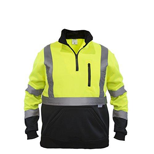 3 Zip Hoodie (JORESTECH Pullover High Visibility Half Zipper 100% Polyester ANSI Class 3 (Medium, Yellow))