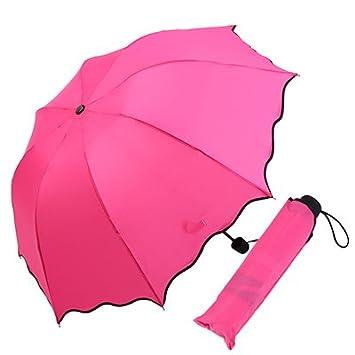 XXAICW Color sólido Varonil mini paraguas niño paraguas plegable doble uso sombrillas para lluvia y soleada