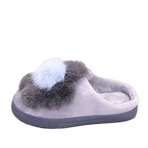 Cybling Winter Pluche Indoor Slippers Warme Antislip Huis Schoenen Dikke Zool Voor Vrouwen Grijs