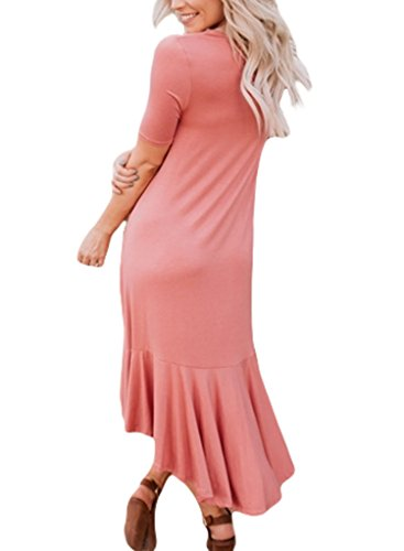 Sidefeel Women Short Sleeve High-Low Hem Ruffle Trimmed Midi Dress Medium Pink