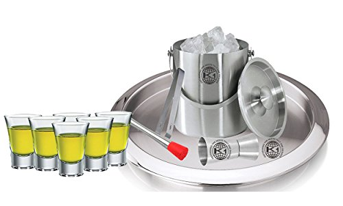 King International 100% Stainless Steel Bar Set | Bar Tools | Bar Accessories Set Of 10 Pieces Includes 6 Shot Glasses | Muddler | Ice Bucket | Tong |Peg Measurer | Bar Tray by King International