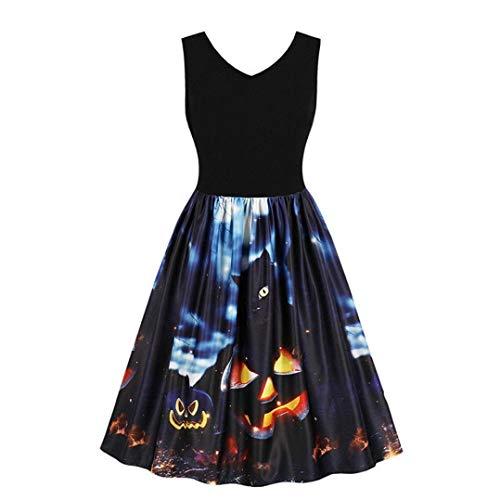DEATU Ladies Dress, Teen Women's Halloween Trick Vintage O-Neck Print Sleeveless Party Swing Dress(B-black,S) -