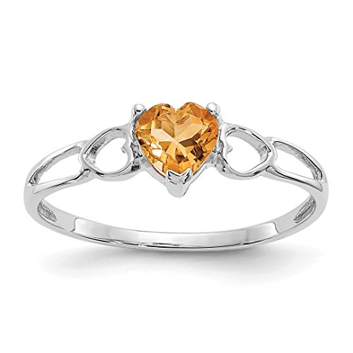 - 10k White Gold Yellow Citrine Birthstone Band Ring Size 6.00 Stone November Style Fine Jewelry For Women Gift Set