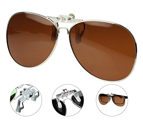 1162f3cc852 Jaky Retro Polarized Lens Glasses Clip on Flip up High Grade Silicone Clip  Classic AVIATOR Reflective