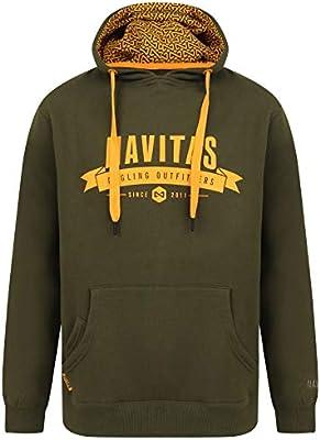 Navitas Kapuzenhoody Outfitters Hoodie f/ür Herren Gr/ün Pullover mit Handyfach f/ür Karpfenangler