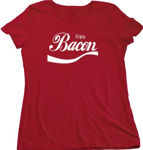 Enjoy Bacon Ladies Cut T-shirt BBQ Grill, Pork Lover Tee