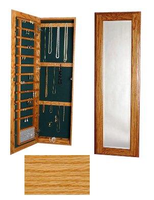 (Large Wall Mounted Jewelry Closet Keyed Lock Natural Oak)