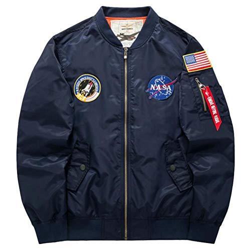 a67f03e7bb0 MODEOK Men's Slim Fit Lightweight Sportswear Jacket Casual Bomber  Jacket(Blue/US L (