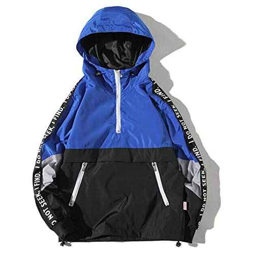 - Toimothcn Men's Boys Zipper Jacket Hoodie Autumn Winter Style Loose Hooded Assault Coat Large Size Clothing(Blue,XL)