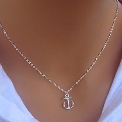 phitak shop Hot Fashion New Simple Design Cute Anchor Silver Pendant Bib Necklace Jewelry - Hot Anchor Women