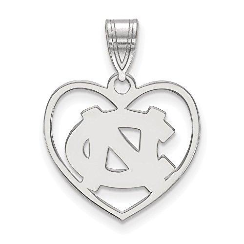 Unc Pendant Sterling Silver Jewelry - Sterling Silver LogoArt Official Licensed Collegiate University of North Carolina (UNC) Pendant in Heart