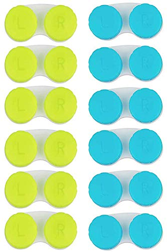 KISEER 12 Pack Colorful Contact Lens Case Box Holder Container Soak Storage Kit (Blue, Green)