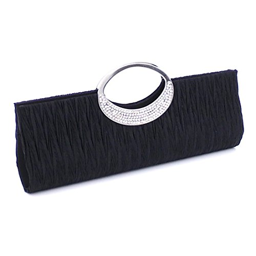 Satin Wedding Black Purse Wallet Party Handbags Pleated Diamante Bag Clutch Verus Rhinestone Women naSwOO