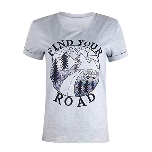 (Women's T-Shirts Short Sleeve Round Neck Letter Printed Loose Casual Pullover Tees Blouse S-3XL (XXL, Gray))
