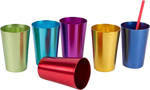 Retro Aluminum Tumblers - 6 cups - 12 oz. - By Trademark Innovations (Assorted -