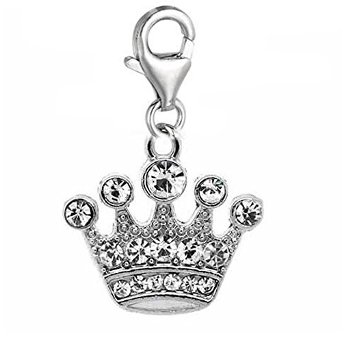 (SEXY SPARKLES Clip on Rhinestone Crown Dangle Charm Pendant for European Clip on Charm Jewelry with Lobster Clasp)