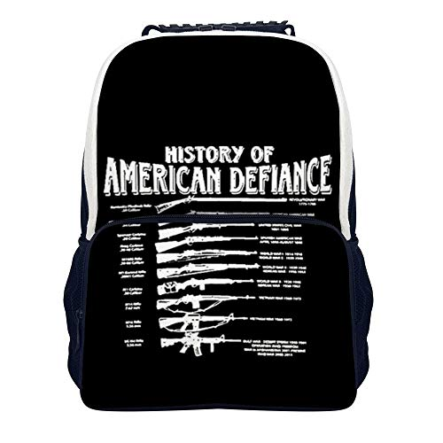 History of American Defiance School Backpack, Unisex Classic Student Backpack for Men Women College Schoolbag Travel Bookbag