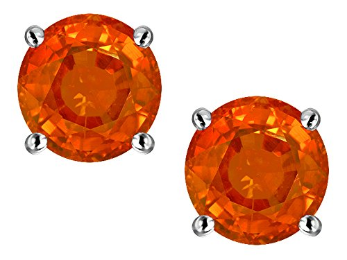 Star K Classic Round 7mm Simulated Orange Mexican Fire Opal Four Prong Stud Earrings 10 kt White Gold